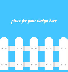 white fence on blue background vector image