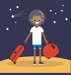 mars colonization young black character moving to vector image
