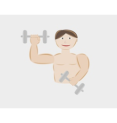 Young man body building with two dumbbells vector