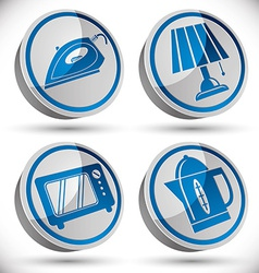 Household appliances icons set 4 vector