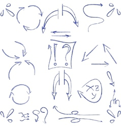 Hand drawn arrows and symbols isolated vector