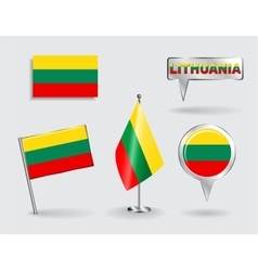 Set of lithuanian pin icon and map pointer flags vector