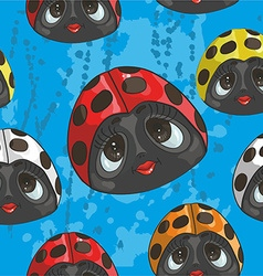 Retro style lady birds pattern vector