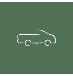 Pick up truck icon drawn in chalk vector