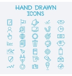 Hand drawn line icons business management company vector