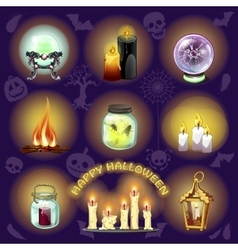Spooky set of objects for halloween vector