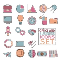 Office and bussines icons four colors vector