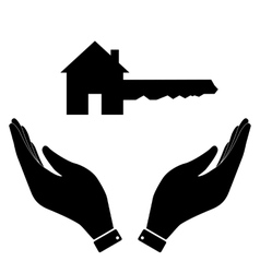 Home key in hand icon vector