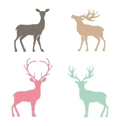 Various silhouettes of deer vector image