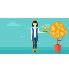 Woman catching dollar coins vector