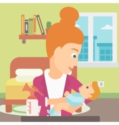 Woman with breast pump vector