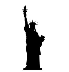 Silhouette statue of liberty in usa contour vector