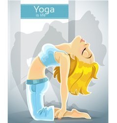 Cute blond girl in a yoga pose of camel vector