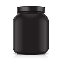 black blank plastic jar isolated on white vector image vector image