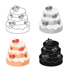 cake with roses icon in cartoon style isolated on vector image vector image