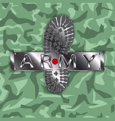 Camouflage army boot vector