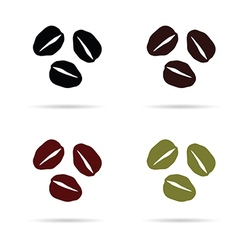 Coffee beans icon in colorful on white vector