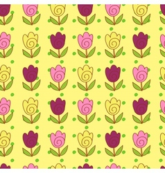 Cute tulips pattern vector image
