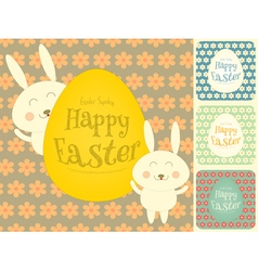 Easter Cards Set with Easter Bunny vector image