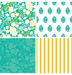 emerald flowerals set of four marching vector image vector image