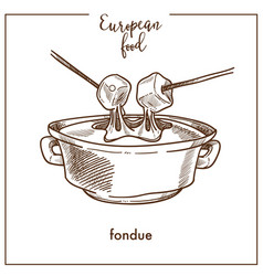 Fondue sketch icon for european swiss food cuisine vector