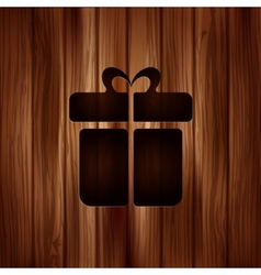 Gift box icon wooden texture vector
