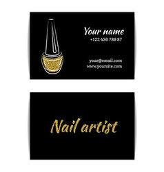Gold glitter texture nail art buisness card vector