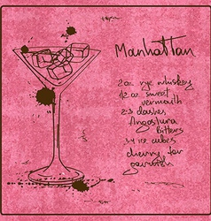 Hand drawn Manhattan cocktail vector image vector image