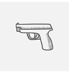 Handgun sketch icon vector image
