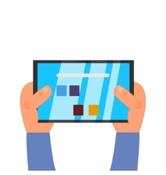 Hands holding tablet vector