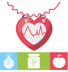 heartbeat with chronometer natural pills and vector image vector image
