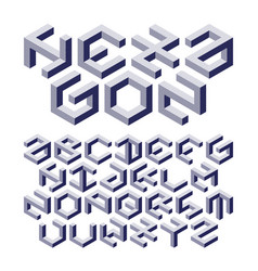 Hexagon alphabet made of impossible shapes with vector