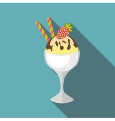 Ice cream in vase icon flat style vector