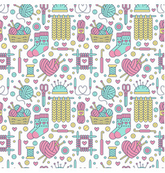 Knitting crochet seamless pattern cute vector