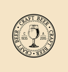 Kraft beer glass logo old brewery icon lager cup vector