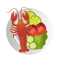 Lobster sea food plate vector