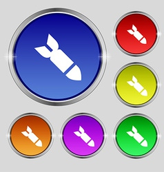 Missilerocket weapon icon sign round symbol on vector