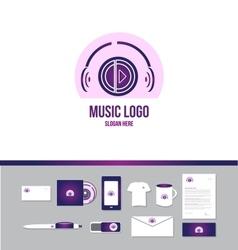 Music headphones logo vector