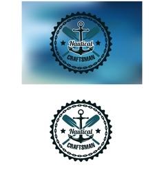 Nautical craftsman badge or emblem vector image vector image