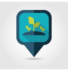 Plant sprout flat pin map icon map pointer vector