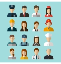 Professions Flat Icons vector image