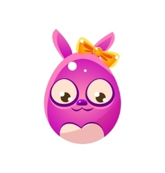 Purple egg shaped easter bunny with bow vector