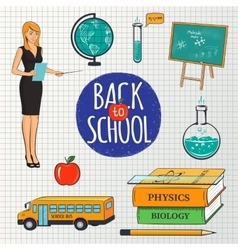 Set of school teaching design elements vector image vector image