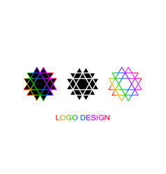 set of three geometrical logo template vector image vector image