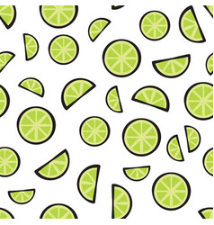 slices fresh lime on white background pattern vector image vector image