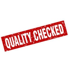 Square grunge red quality checked stamp vector