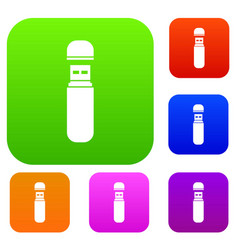 Usb flash drive set collection vector
