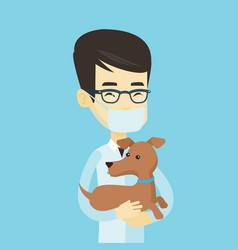veterinarian with dog in hands vector image vector image