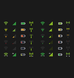 wi-fi signal icons battery energy charge mobile vector image vector image