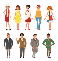 young men and women wearing retro clothing set vector image vector image